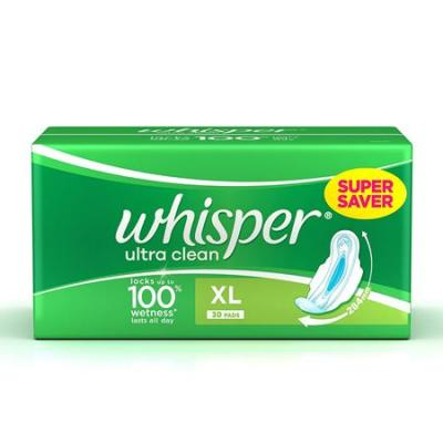 Whisper Ultra Clean Sanitary Napkin XL With Wings 30 N